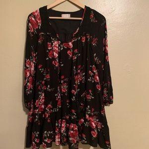 Altar'd State | Black Floral Boho Dress | Medium M